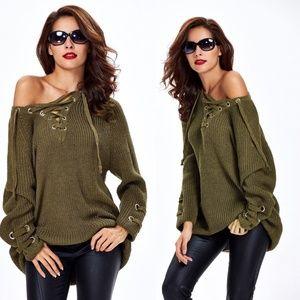 Olive Lace Up V-neck Sweater Tunic 354